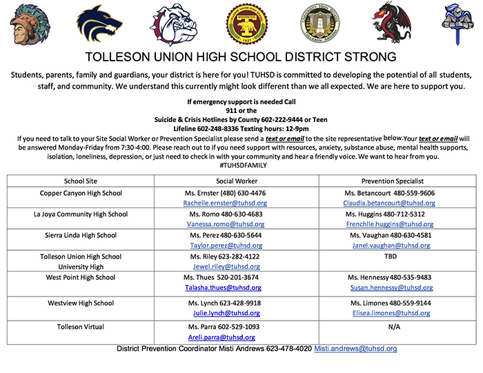 Tolleson Union High School District Strong Flyer with contact information