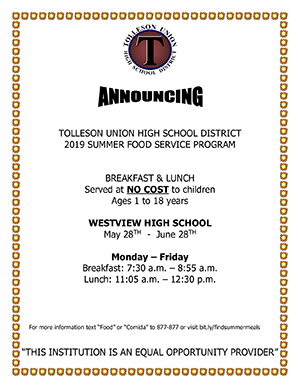 2019 Summer Food Service Program flyer