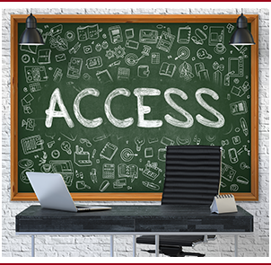 Access written on a chalkboard