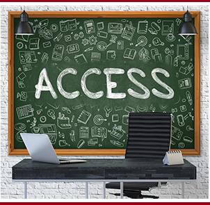 Access written on a chalkboard