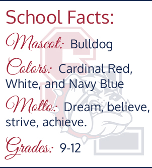 School Facts: Mascot - bulldog, colors - cardinal red, white, and navy blue, Motto - dream, believe, strive, achieve, grades - 9-12