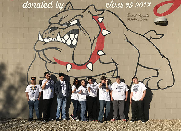exterior wall mural of bulldog donated by Class of 2017
