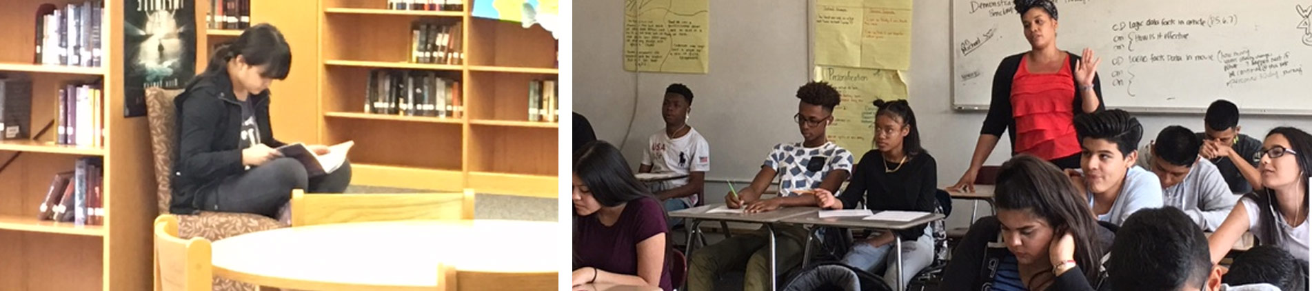 Student studying in library and students in classroom