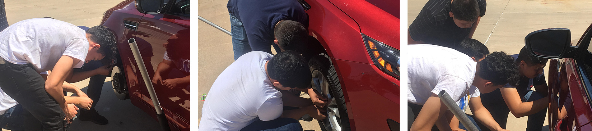students learning auto care