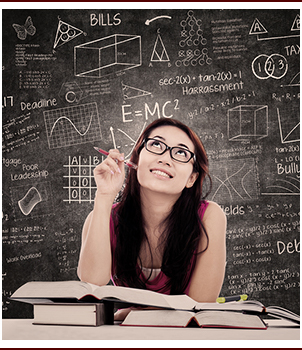 Girl studying math
