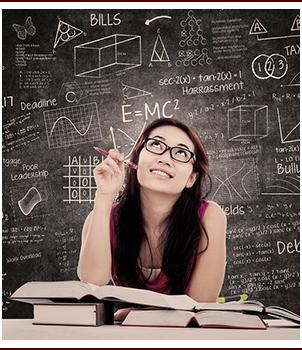 Girl studying math