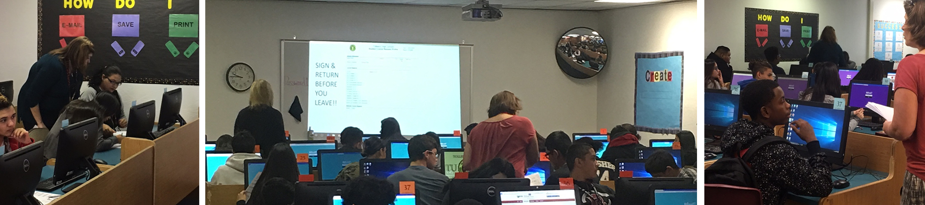 Students and teachers in computer class.