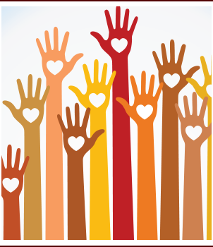 Drawing of a diversity of students' raising their hands with hearts