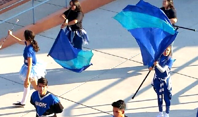 Color guard team marching