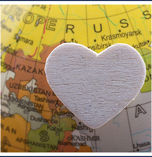 map of the world with a heart