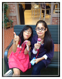Two Girls eating ice cream