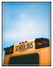 Back view of school bus