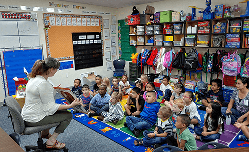 Teacher reads to students in class