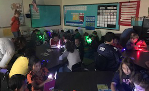 Students experimenting with colored lights in the classroom