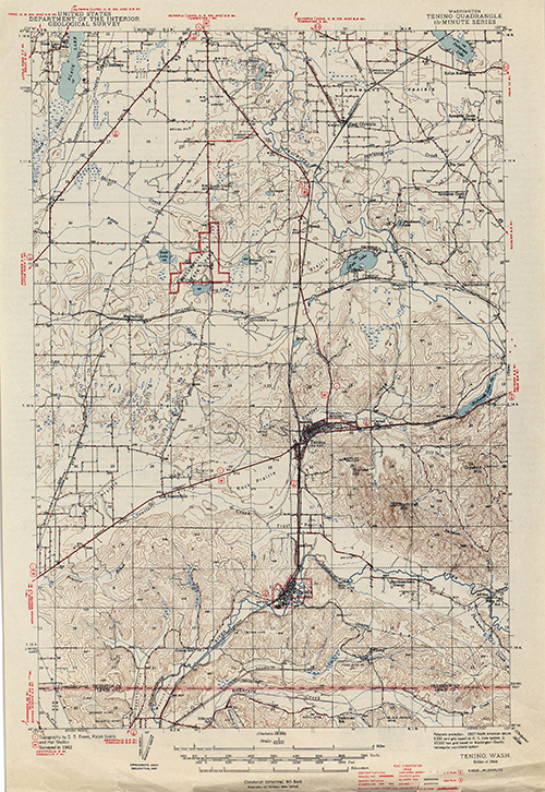 Topographical Map of Tenino from 1944