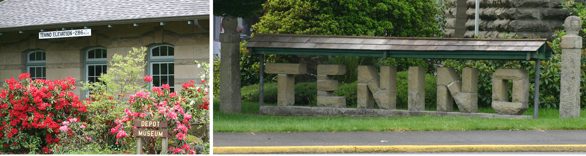 Train Depot and City Sign