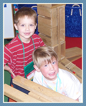 kids using building blocks