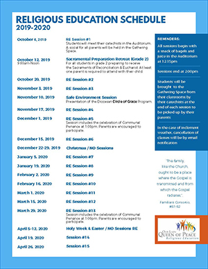 Religious Education Schedule 2019-2020