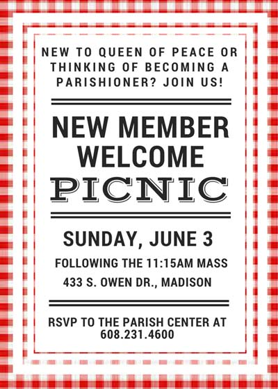 New Member Welcome Picnic Flyer - RSVP to the Parish Center at 608.231.4600