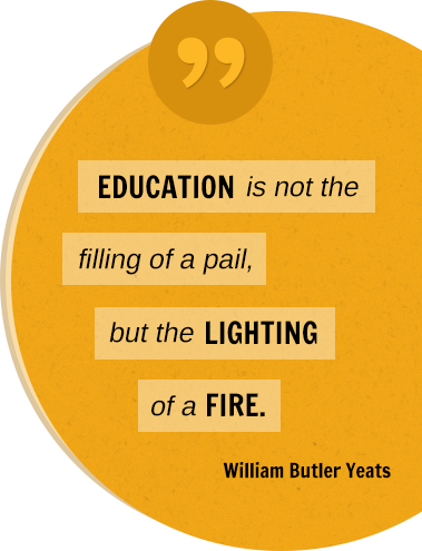 EDUCATION is not the filling of a pail, but the LIGHTING of a FIRE. William Butler Yeats