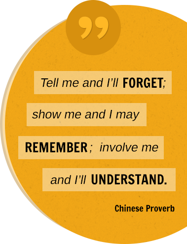 Tell me and I'll FORGET; show me and I may REMEMBER; involve me and I'll UNDERSTAND. Chinese Proverb