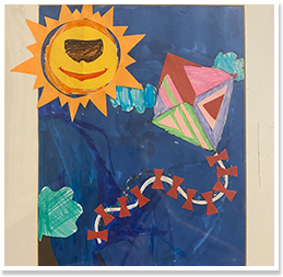 Painting of the sun and a kite