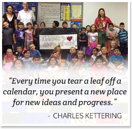 Every time you tear a leaf off a calendar, you present a new place for new ideas and progress. -Charles Kettering