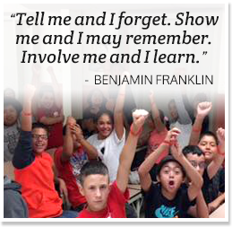 Tell me and I forget. Show me and I may remember. Involve me and I learn. - Benjamin Franklin