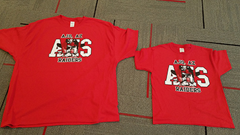 T-shirts reading Ajo, AZ AHS Raiders with the AHS logo on it