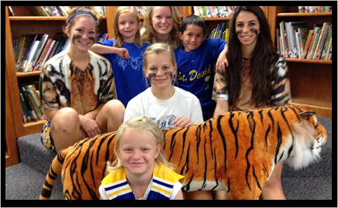 Students with stuff tiger