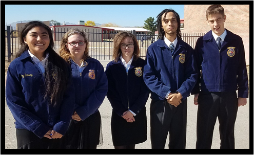 Five FFA students outdoors