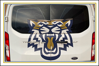 wild cat decal on the back of a school van