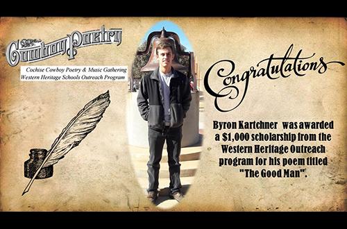 Byron Kartchner awarded scholarship for poem.