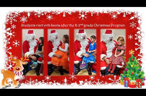 Students visit with Santa.