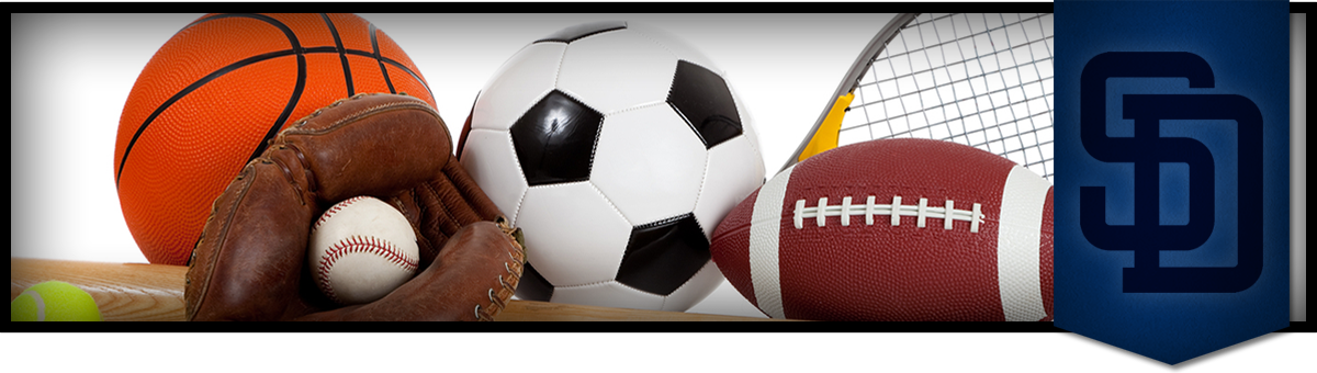 athletic equipment such as basketball, baseball glove and ball, football and a soccer ball