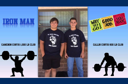 Iron Man. Way to go! Good job! You rock! Cameron Curtis 1,000 LB Club. Callon Curtis 800 LB Club.
