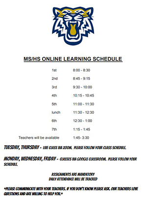 Middle School and High School online learning schedule