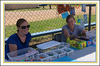 PTO members at outside table