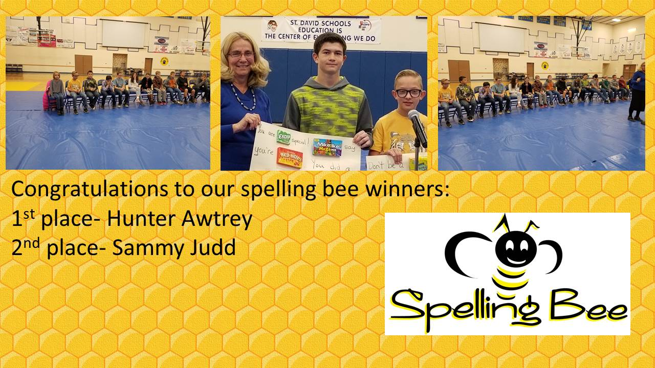 Congratulations to our spelling bee winners: 1st place - Hunter Awtrey, 2nd place - Sammy Judd