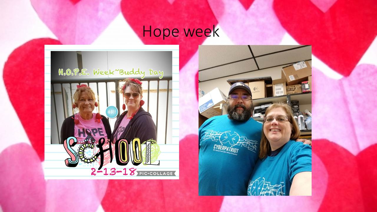 Hope Week - H.O.P.E. week buddy day. School 2-13-18 Pic Collage