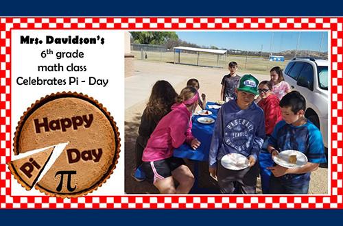 Mrs. Davidson's 6th grade math class celebrating PI Day