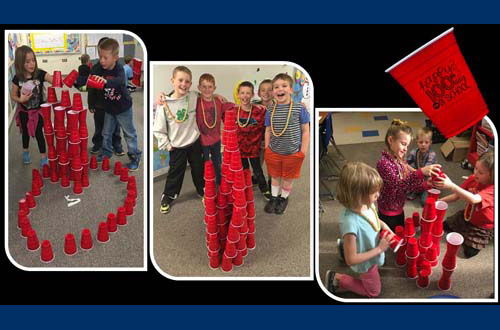 100th Day of School - students with red cups