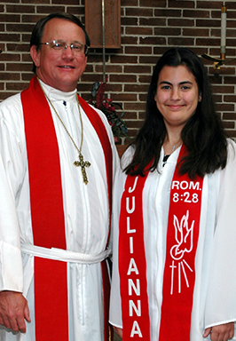 Pastor with Woman smiling