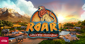 Roar! Life is Wild. God is Good. Wildlife savannah and lion logo.