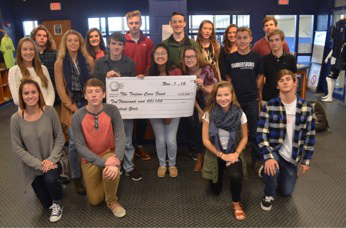 Students with big check