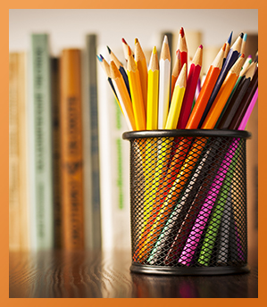 Pencils and books