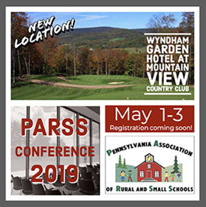 New location! Wyndham Garden Hotel at Mountain View Country Club. PARSS Conference 2019. May 1 to 3. Registration coming soon! Pennsylvania Association of Rural and Small Schools.