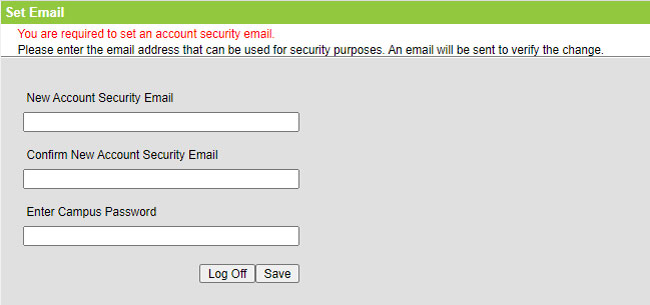 Screenshot of page to set and verify email