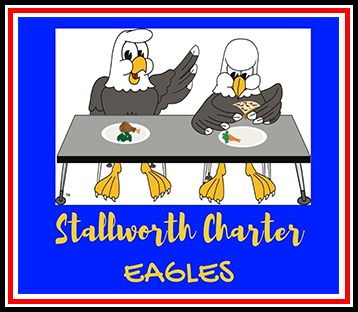 Kids running towards a school