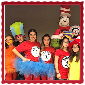 Students dressed as Dr. Seuss characters